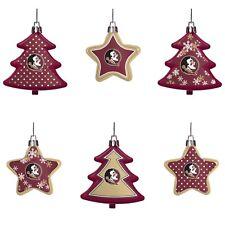 Florida St Seminoles Shatterproof TREES & STARS Christmas Tree Ornaments 6 pack