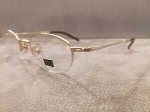MAJI MASATOMO Vintage Half Rim OVAL Eyeglasses TITANIUM Model M3-3012 GOLD