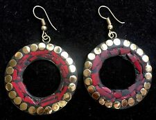 Bohocoho ECCENTRICO Boho Gypsy 70 S stile mosaico rosso intenso Cerchio Dangle Earrings