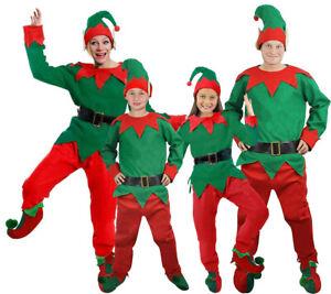 ELF COSTUME 5 PC ADULT CHILDS CHRISTMAS FANCY DRESS OUTFIT SANTAS HELPER XMAS