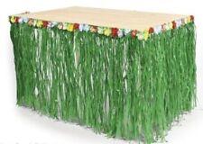 Table Skirt Green Grass w/Hibiscus Flower Wedding Beach Hawaiian Luau Tiki PARTY