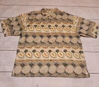Tommy Bahama Shirt XL Pineapples Silk Short Sleeve Coconut Buttons Hawaiian