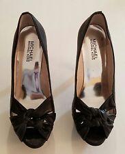 Michael Kors Black leather Open Toe Platform Heels Size 7.5M