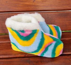Wool Booties, Ankle Wool Slippers, Soft Sheepskin Rainbow shoes SIZES