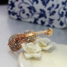 Vintage Men Luxury Party Rhinestone Crystal Violin Brooch Pin Fashion Jewelry
