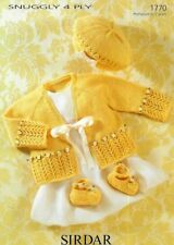 Baby Cardigan Beret & Shoes Pretty 4 ply Lace Prem - 2 years ~ Knitting Pattern