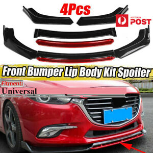 4Pcs Glossy Black &Red Car Front Bumper Lip Chin Spoiler Splitter Wing Universal