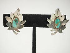 Clip On Sterling Silver Sharp Turquoise Leaf Earrings
