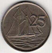 1977 CAYMAN ISLANDS SAILING SHIP TWENTY FIVE 25 CENTS ELIZABETH II NICE COIN