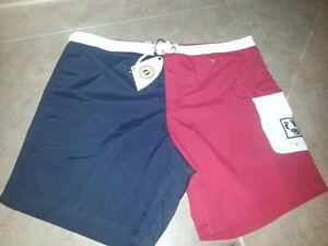 Men's HANG TEN GOLD Calobre Board Shorts Navy/Red/White Size 38