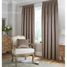 "Catherine Lansfield 66"" x 54"" Brown Thermal Jacquard Lined Curtains Pencil Pleat"