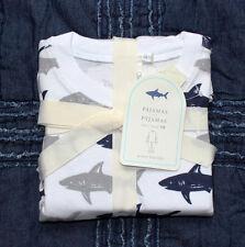 new POTTERY BARN KIDS Shark Tight-Fit Pajama white gray navy size 6