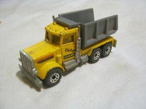 Matchbox Yellow Peterbilt Dump Truck, Bed Lifts, Bottom Dated 1981 (JD-23)