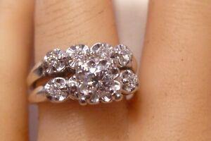 keepsake C1950 14K Gold 0.28 TCW Diamonds Solitaire Engagement Wedding 2 Rings