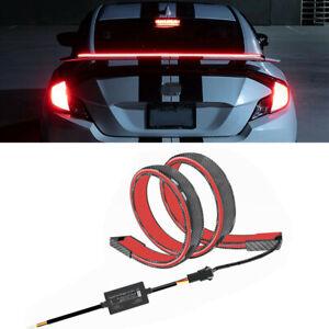 1.2m Universal LED Car Rear Trunk Spoiler Lip Tail Wing Light Carbon Fiber Style