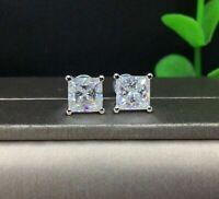 2Ct Princess Cut VVS1 Diamond 4 Prong Stud Women's Earrings 14k White Gold Over