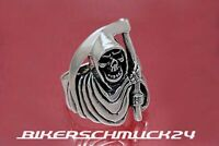 Totenkopfring Reaper Sensenmann mit Kapuze Skull 925 Silber Biker Ring Geschenk