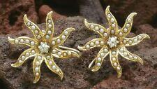 Antique 14k Yellow Gold Pearl Diamond Starburst Earrings Estate Jewelry 5.1 gm