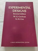 BOOK EXPERIMENTAL DESIGNS SECOND EDITION COCHRAN COX JOHN WILEY E SONS 471162043