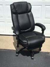 High Back Black Leather Executive Office Chair Tilt Swivel Foot Rest P Cond