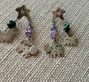 Taxco Sterling Silver .925 Beaded Gems Cat and Dog Dangling Earrings Mexico