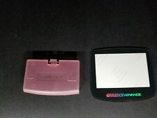 Transparent Pink battery Cover Logo + Glass Holo Screen for GameBoy Advance C38