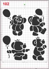 Cute Happy Bear Parade Stencil MYLAR A4 sheet strong reusable WallDeco Art Craft