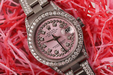 Women's Diamond 26mm Rolex SS Oyster Perpetual Datejust Pink Diamond Dial