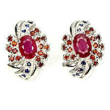 REAL RED RUBY,ORANGE MOZAMBIQUE GARNET,SAPPHIRE STERLING 925SILVER STUD EARRINGS