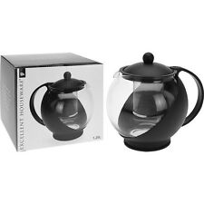 Large Round Glass Tea Pot Infuser Basket Teapot Black 1250 ml/1.25 Litre