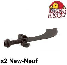 Lego - 2x minifig arme weapon sabre épée courbe scimitar noir/black 43887 NEUF
