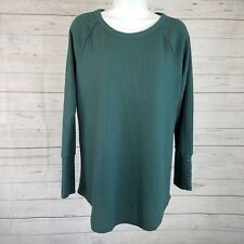 Chaser Womens Thermal Top Sz Large Teal Basket Weave Long Sleeve