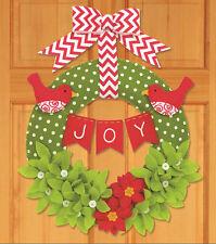 Felt Embroidery Kit ~ Dimensions Joy Wreath Christmas Hanging / Decor #72-08272