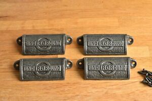 Four antique style cast iron iconic London Underground logo drawer pull handles