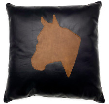 Full Grain Leather Horse Head Pillow Cover Only Or With Cushion Couch Decorative