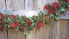 Burlap Green And Red Christmas Mix Rag handmade Garland 5ft Perfect For Mantle
