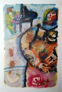 """Theo Tobiasse """"La Diva"""" Original Color lithograph signed and numbered in pencil"""
