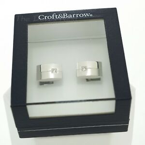 CROFT & BARROW Men's Shiny BRUSHED SILVER CUFF LINKS with Faux CRYSTAL Gift Box
