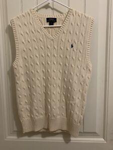 Ralph Lauren Polo Cable Knit Sweater Vest CREAM Boys L(14-16)