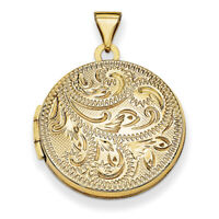 14k Yellow Gold 20mm Round Fully Scroll Hand Engraved Locket XL561