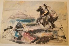 Horse & Rider Semi-Abstract W/C Painting-1960s-Samuel Brecher