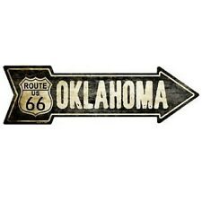 "Outdoor Decor Vintage Route 66 Oklahoma Novelty Metal Arrow Sign 5"" x 17"""