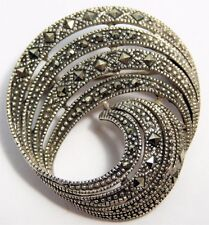 Vtg 1980s MARSALA Sterling Silver Marcasite Art Deco Style Pin Brooch
