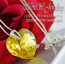 925 Silver Necklace Pendant Crystals from Swarovski® HEART 18mm - Light Topaz AB