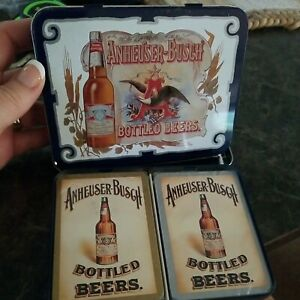 NEW Vintage 1988 Anheuser-Busch Bottled Beers Playing Cards w Tin Budweiser