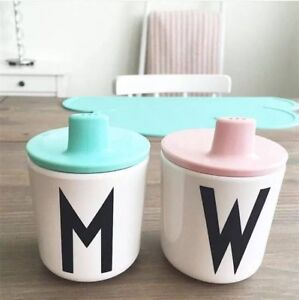 Melamine Alphabet Black & White Water (W) Cup with Pink Lid