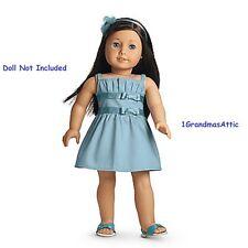 American Girl Double Bow Dress NIB MYAG Blue Dress Shoes Headband Charm