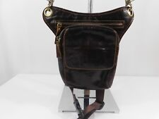 Messenger Bag Men's Brown Genuine Leather Biker Cross Body Leg Thigh Strap