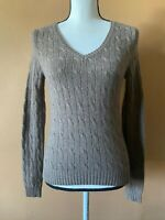 LULU BRAVO Brown 100% Cashmere V Neck Cable Knit Pullover Sweater Size Small