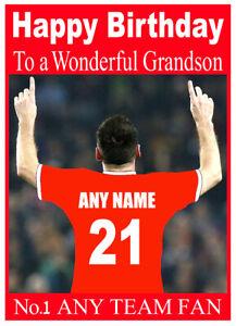 PERSONALISED FOOTBALL ANY TEAM/COLOUR BIRTHDAY CARD SON DAD GRANDSON NEPHEW ETC
